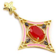 925 silver 6.45cts fine natural diamond honey onyx enamel 14k gold pendant v1071