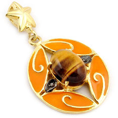 6.47cts estate natural diamond brown tiger's eye 925 silver gold pendant v1074