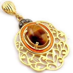 6.53cts natural white diamond brown tiger's eye 925 silver gold pendant v1075