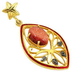 6.94cts natural diamond brown goldstone enamel 925 silver 14k gold pendant v1076