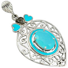 6.78cts natural diamond aqua chalcedony enamel 925 sterling silver pendant v1079