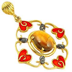 6.43cts handmade natural diamond brown tiger's eye 925 silver gold pendant v1080