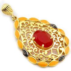 6.31cts handmade natural diamond honey onyx enamel 925 silver gold pendant v1087