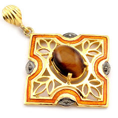 6.74cts natural white diamond brown tiger's eye 925 silver gold pendant v1089