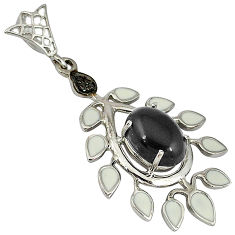 6.78cts fine natural diamond black onyx enamel 925 sterling silver pendant v1098