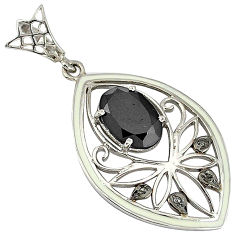 925 sterling silver 6.30cts fine natural diamond black onyx enamel pendant v1099