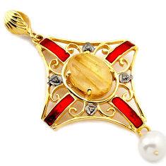 9.92cts natural diamond golden tourmaline rutile 925 silver gold pendant v1101