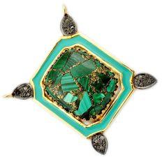 27.85cts fine natural diamond malachite in azurite 925 silver gold pendant v1102