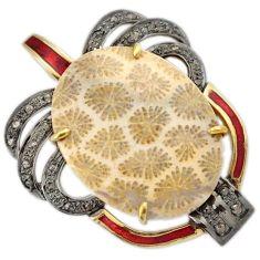 925 silver 29.51cts diamond fossil coral (agatized) petoskey stone pendant v1104