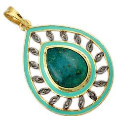 925 silver 15.91cts estate natural diamond green chrysocolla gold pendant v1105