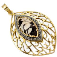 14.04cts fine diamond peanut petrified wood fossil 925 silver gold pendant v1106