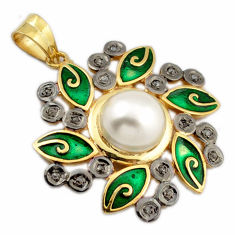 7.82cts natural diamond white pearl round enamel 925 silver gold pendant v1111
