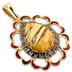 Diamond brecciated mookaite (australian jasper) 925 silver gold pendant v1112
