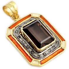 14.24cts handmade diamond brown smoky topaz enamel 925 silver gold pendant v1115