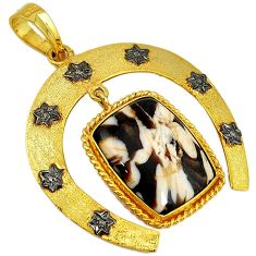 925 silver 19.53cts diamond peanut wood fossil gold horse shoe pendant v1119