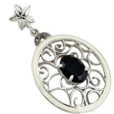 6.73cts vintage natural diamond black onyx enamel 925 silver pendant v1592
