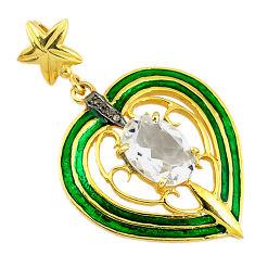 6.61cts estate natural diamond white topaz 925 silver gold heart pendant v1597
