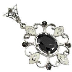 6.60cts vintage natural diamond black onyx enamel 925 silver pendant v1601