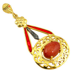 925 silver 6.32cts vintage diamond brown goldstone enamel 14k gold pendant v1605