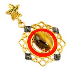 925 silver 6.72cts vintage diamond brown tiger's eye enamel gold pendant v1610