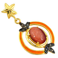 6.62cts estate diamond brown goldstone enamel 925 silver 14k gold pendant v1611