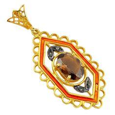 6.31cts vintage diamond brown smoky topaz enamel 925 silver gold pendant v1618