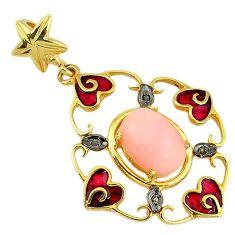 6.63cts estate natural diamond pink opal enamel 925 silver gold pendant v1678