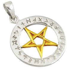 Victorian 925 sterling silver 14k gold star of david pendant jewelry v1692