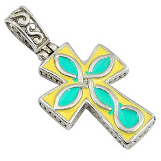 Indonesian bali style solid enamel 925 silver holy cross pendant jewelry v1712