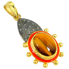 13.30cts estate natural diamond brown tiger's eye 925 silver gold pendant v1721