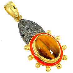 13.30cts estate natural diamond brown tiger's eye 925 silver gold pendant v1721
