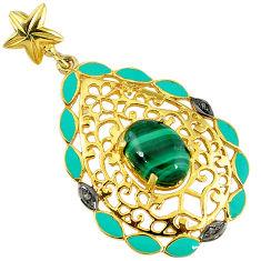 7.61cts estate diamond malachite (pilot's stone) 925 silver gold pendant v1763