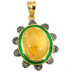 15.71cts vintage diamond golden tourmaline rutile 925 silver gold pendant v1780