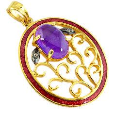 6.59cts vintage natural diamond amethyst enamel 925 silver gold pendant v1838