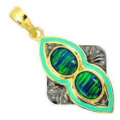 5.34cts estate diamond green australian fire opal 925 silver gold pendant v1912