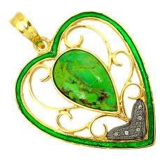 Vintage diamond green copper turquoise enamel 925 silver 14k gold pendant v1913