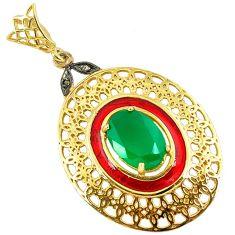 6.72cts estate diamond green chalcedony enamel 925 silver gold pendant v1946