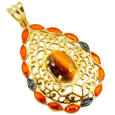 6.31cts estate diamond brown tiger's eye enamel 925 silver gold pendant v1947