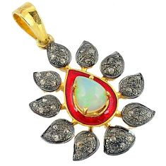 3.94cts vintage natural diamond ethiopian opal 925 silver gold pendant v1949