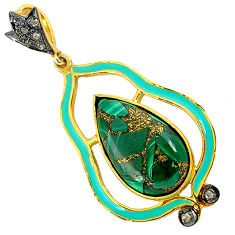 11.27cts vintage diamond copper malachite enamel 925 silver gold pendant v1950
