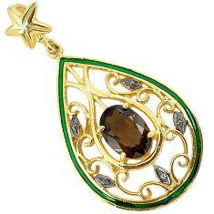 6.89cts estate diamond brown smoky topaz enamel 925 silver gold pendant v1951