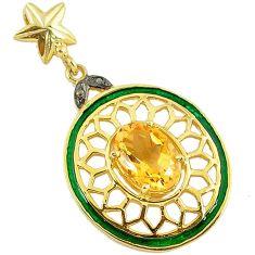 6.78cts estate natural diamond citrine enamel 925 silver 14k gold pendant v1953