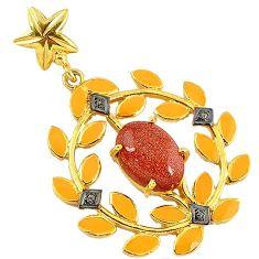 6.51cts estate diamond brown goldstone enamel 925 silver 14k gold pendant v1955