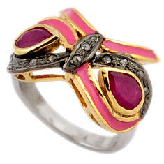 3.74cts victorian diamond red ruby pink enamel 925 silver gold ring size 8 v1134