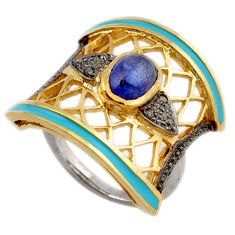 2.11cts estate diamond blue tanzanite enamel 925 silver gold ring size 8 v1144