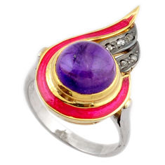5.99cts estate natural diamond purple amethyst 925 silver gold ring size 8 v1148