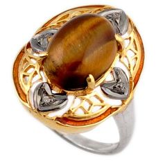 6.53cts estate natural diamond tiger's eye 925 silver 14k gold ring size 9 v1150