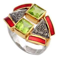 925 silver 3.44cts estate natural diamond green peridot gold ring size 7 v1154