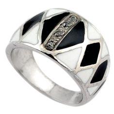 Vintage natural diamond white diamond black enamel 925 silver ring size 7 v1156