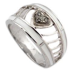 Estate natural diamond round enamel 925 sterling silver band ring size 9 v1173